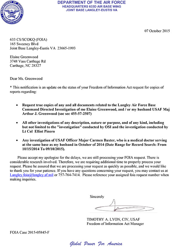 2015 Oct 7 USAF FOIA request Tim Lyons